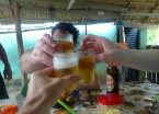A celebratory toast to celebrate completing the 18-kilometer trek through the Tapajós National Forest. There was always a good reason to drink cold cervejas in Alter do Chão.