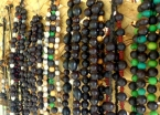 Local necklaces for sale in Maguarí. All the beads are seeds collected from the adjoining Tapajós National Forest.