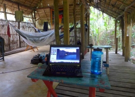 "My swinging ""bed"" and office at Pousada da Floresta tucked in the woods outside of Alter do Chão."