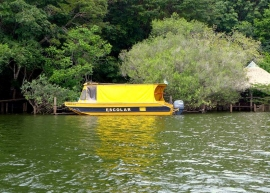 A school boat seen in Lago Verde to bring the children of fishing families to Alter do Chão for some classroom learning.