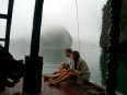 Tour mates on the boat in misty Lan Ha Bay