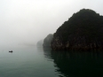 Fisherman in typical Lan Ha Bay fog