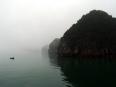 Fisherman in typical Lan Ha Bay fog