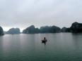 Lonely fishing boat in Lan Ha Bay.