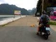 "Empty roads on Cat Ba Island, note this ""sleeping cop"" on duty."