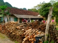 Stacked firewood in one of the villages on Cat Ba Island.