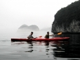 The two of us beginning our kayak tour in the misty Lan Ha bay