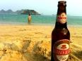 Han Noi beer awaiting Peter at Cat Co 2 beach in Cat Ba town, Vietnam.