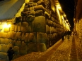 Masterful Inca stone walls come alive at night in the streets of Cusco