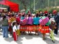 Indigenous women in Ollantaytambo's Plaza de Armas