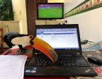 I spent a lot of time at my computer entering Kiva borrower and loan information.  This tucan in a hostel in Santa Cruz did not make my task any easier as he spent his time trying to eat the red button on my laptop. (He was also distracting me from the Real Madrid-Dortmund soccer match).