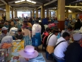 Busy lunchtime at the Comedor Popular in the central market of Copacabana
