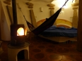 Enjoying a warm fire, wine and a comfy hammock once the evening Lake Titicaca chill sets in