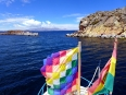 The boat ride back to Copacabana with the flag of the Plurinational State of Bolivia standing tall and proud (if not a little tattered)