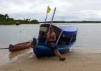 Enjoying yerba mate on the beach of Boipeba, a quaint village that is like Morro de São Paulo was 20 years ago
