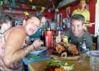 Enjoying grilled lobster with Rosita at one of the many beach shacks in Morro de São Paulo