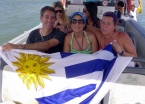 With the Uruguayans on a boat trip around the island... you can't say they aren't patriotic!