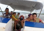 Flying over the high waves on an island tour with a boatload of friendly Brazilians