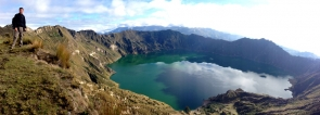 Peter along the rim of Quilotoa Crater Lake, the clear morning blessed us with spectacular views