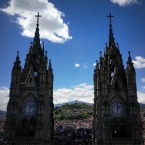 Views above Quito from the clock towers of the Basílica del Voto Nacional