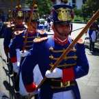 Soldiers during the elaborate Changing of the Guard each Monday in Quito's Plaza Grande