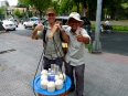 Getting to know the local street vendors.  Chilled sweet coconut juice is a delicious, nutritious way to hydrate.