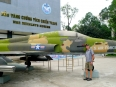 Paul in front of a T37, a jet he flew in the Air Force at the War Remnants Museum in HCMC.