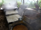 The guarapo is boiled through a series of large kettles so the water evaporates and the sugar thickens