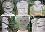 Some of the varied (and creative) statues found in the San Agustín region: shaman, soldiers, chieftains, women, anonymous faces... all is represented