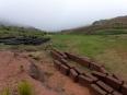 Walking though the misty high-altitude farms above Toro Toro where traditional adobe construction still predominates