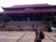 Looking bedraggled as I approach a Buddhist temple near Dalat in the Central Highlands