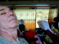 Paul not happy with the vomiting passengers on the Sick Bus as we swerved to-and-fro during the descent from the Central Highlands