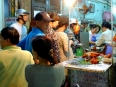 Popular street food eatery in Hanoi's Old Quarter, locals queue for the good stuff