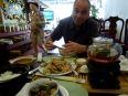 Paul enjoying the culinary delights of Hanoi, this was a vegetarian restaurant run by Buddhist monks