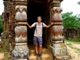 Peter stopping at the portico of one of My Son's temples, an ancient Cham city