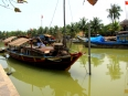 Wooden boats along the Hoi An waterfront