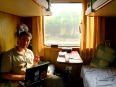 Peter enjoying the sleeper car to Hanoi, fortunately we were the only two passengers in our