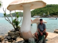 Paul enjoying the shade of a large concrete mushroom.  Vietnam is full of strange concrete sculptures.