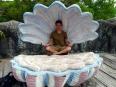 Peter de Venus: meditating in a concrete clamshell