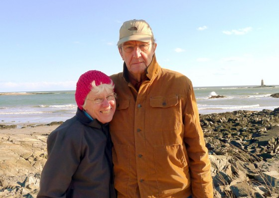 Mom and Ray walking at Fort Foster overlooking Whaleback Light and the Isles of Shoals