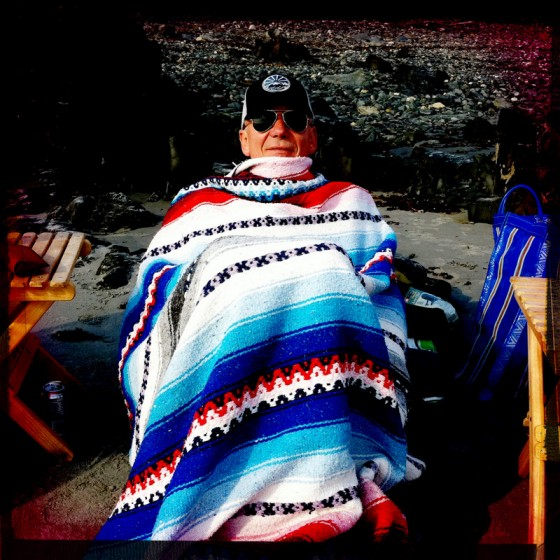 Paul catching the chills, thankfully we had a Mexican serape on hand.