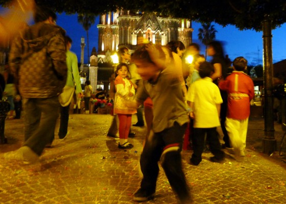 Carnival madness in the main plaza of San Miguel