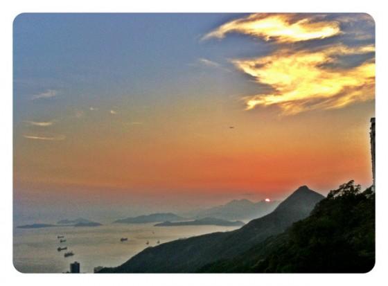 Setting sun atop Victoria Peak, Hong Kong