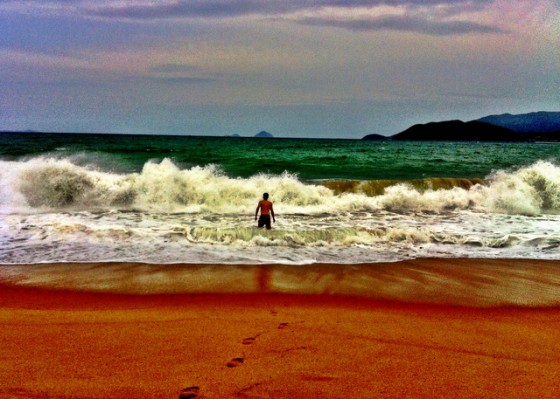 My first dip in the South China Sea in Nha Trang, Vietnam
