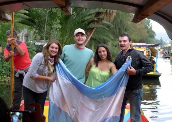 Argentine boat-mates with la bandera on display