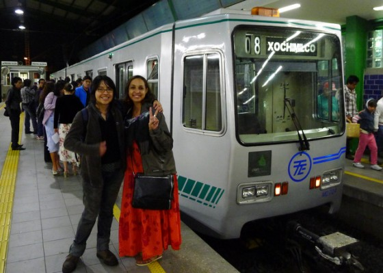 Mariana and Anny, boarding the light rail to take us back to Mexico City