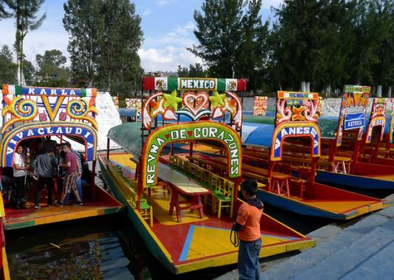 Gondolas along the embarcadero in Xochimilco