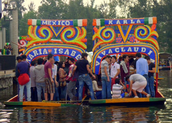 Trajineras (flat-bottomed gondolas) in Xochimilco, Mexico DF