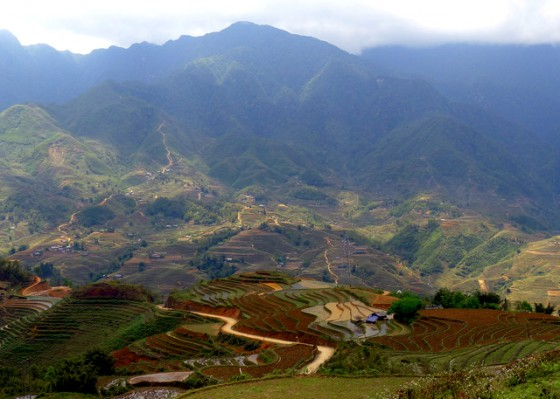 Picturesque valley of hill-tribe villages and terraced rice paddies