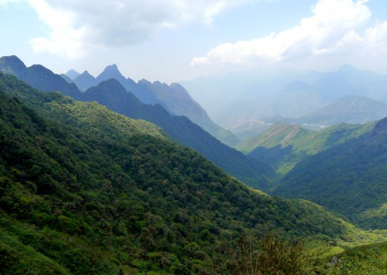 The jagged peaks of the Hoang Lien Son mountain range descending from the Mt. Fansipan apex